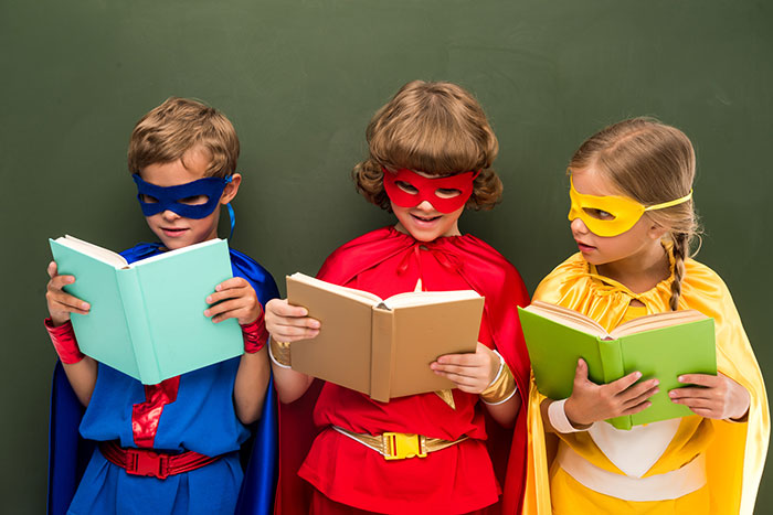 Kids dressed as superheros